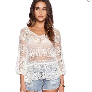 "Free people ""Saturdays lace top"" brand new"